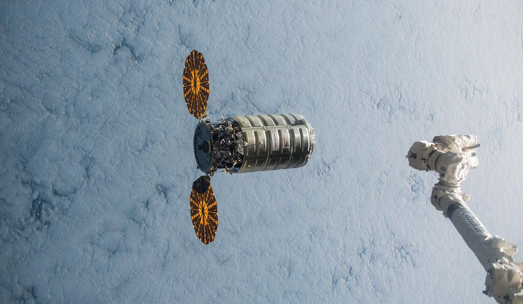 A Cygnus cargo vehicle on its way up to the space station last December. This one comes home on Friday.