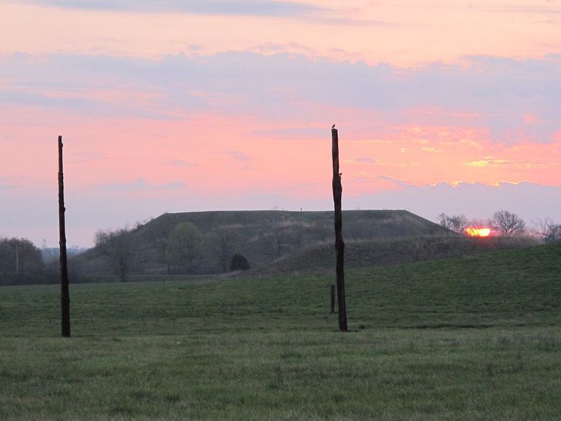 View of Monks Mound from Woodhenge Circle