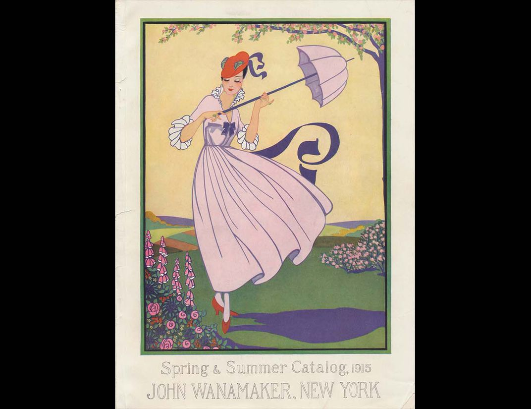 Color cover of Wanamaker catalog with woman in pink dress with parasol.