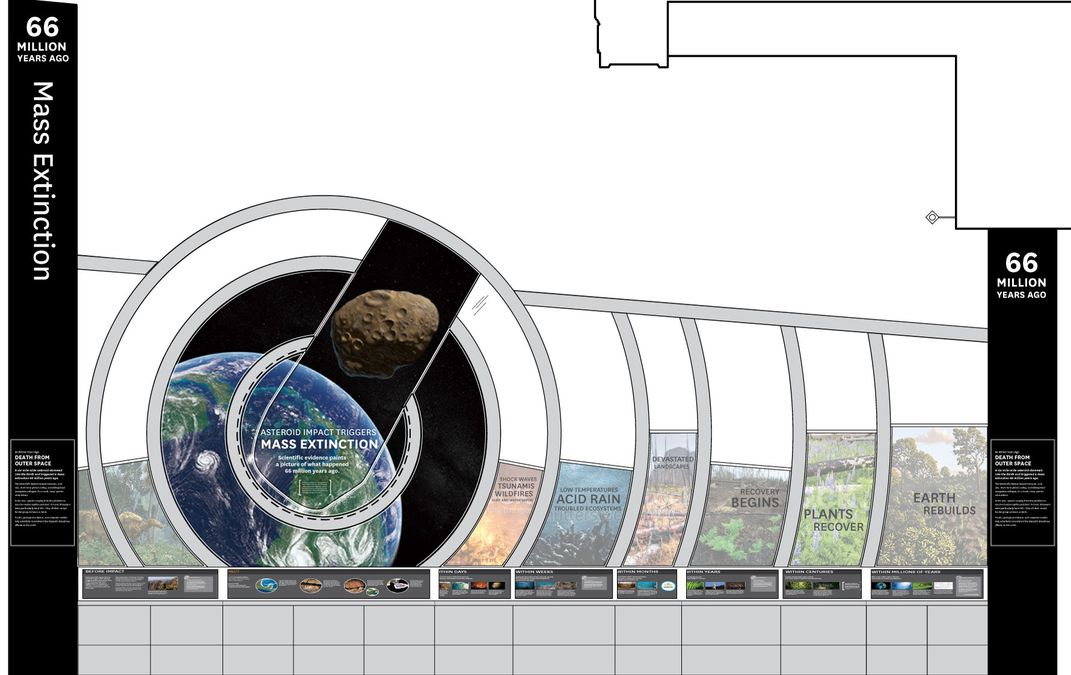 A graphic of Earth on the left followed by several ecosystems and a timeline graphics to the right on a wall representing the end-Cretaceous mass extinction that will be in a new exhibit at the Smithsonian's National Museum of Natural History