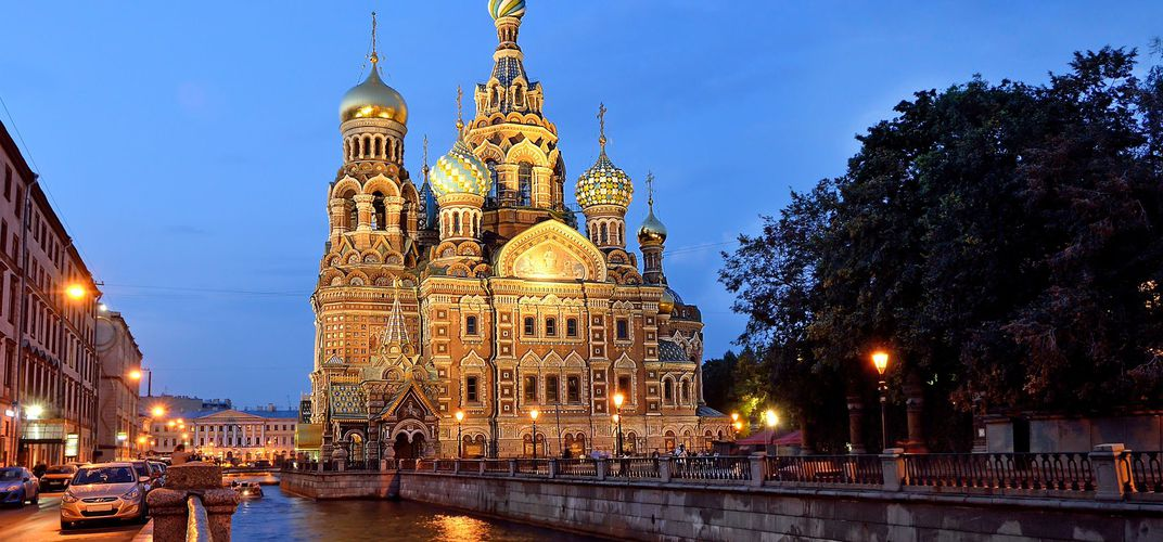 View of the Church of the Savior on Spilled Blood from a canal in St. Petersburg