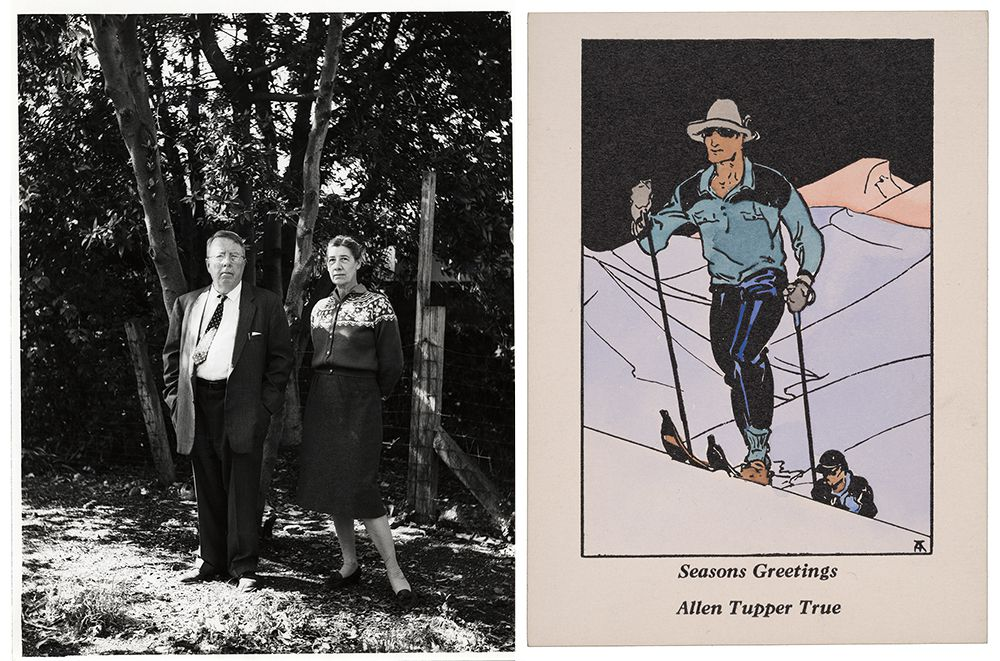 Photograph of Yvor Wintor and Janet Lewis next to Allen Tupper True holiday card