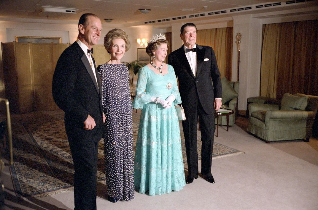 L to R: Prince Philip, First Lady Nancy Reagan, Elizabeth II and President Ronald Reagan in 1983