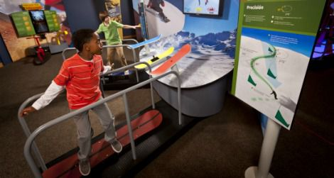 The Boardercross snowboarding activity teaches students about angles and turning