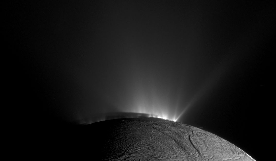 The geyser basin at the south pole of Enceladus