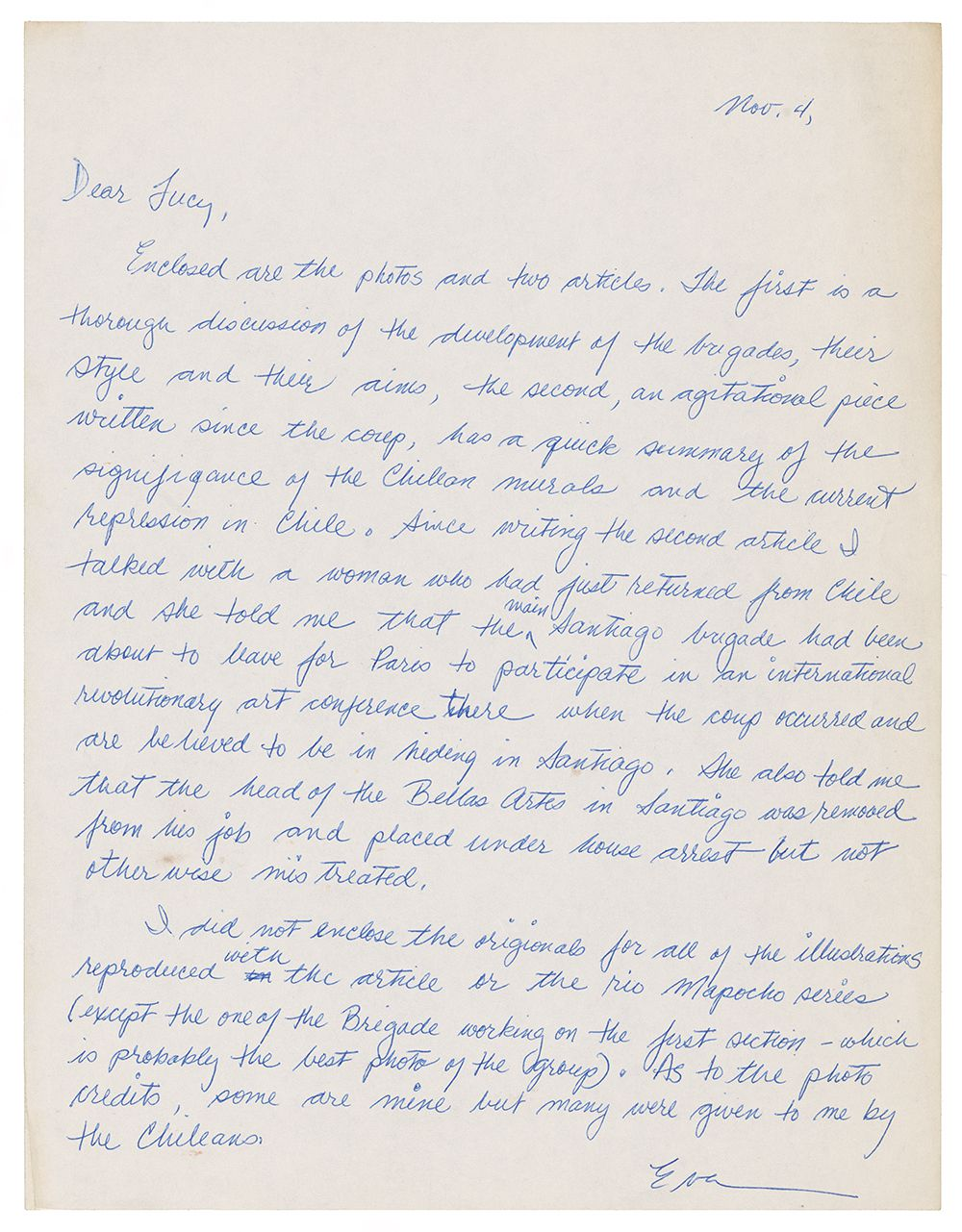 Letter written to Lucy Lippard by Eva Cockcroft, November 4, 1973