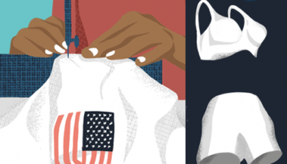 image of a woman sewing something with the American flag and a bra and shorts in space