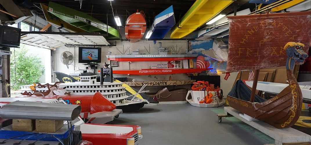 Caption: Peek Into the World's Only Cardboard Boat Museum