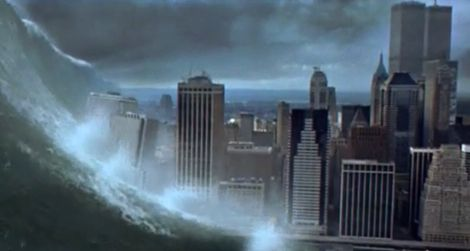 A powerful wave destroys New York City in the disaster film Deep Impact (1998)