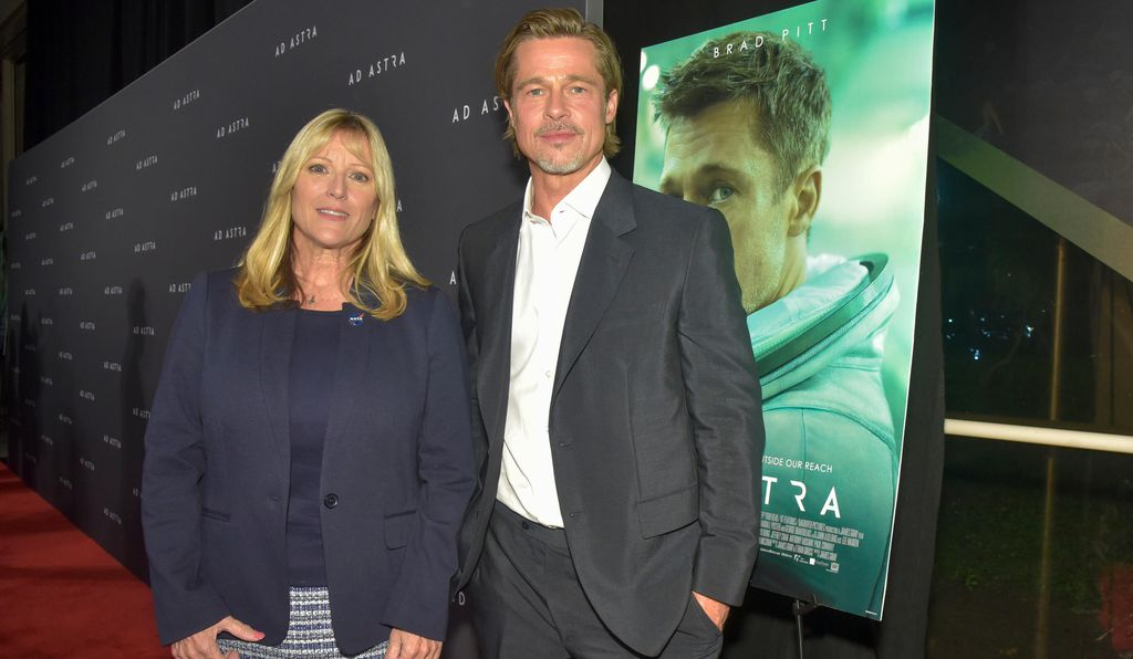 Astronaut Kay Hire and actor Brad Pitt at a special Washington, DC screening of Pitt's new film