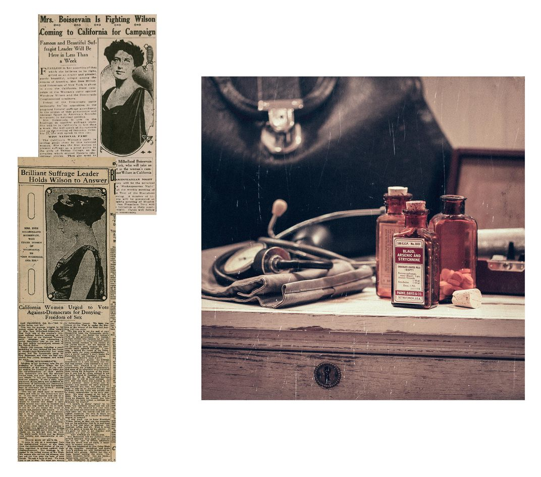 Newspaper Clippings and Antique Vials