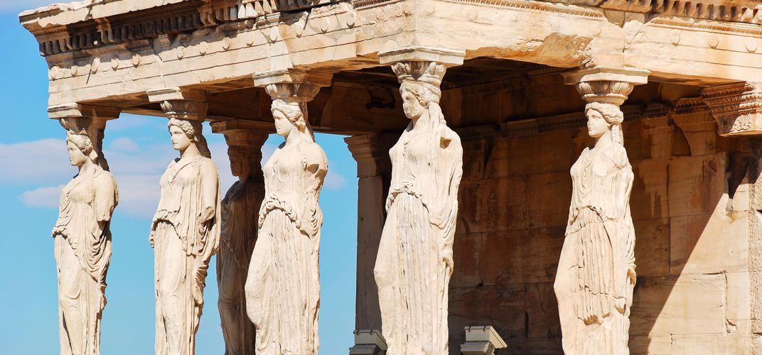 The caryatids on the Temple of Erechtheion on the Acropolis