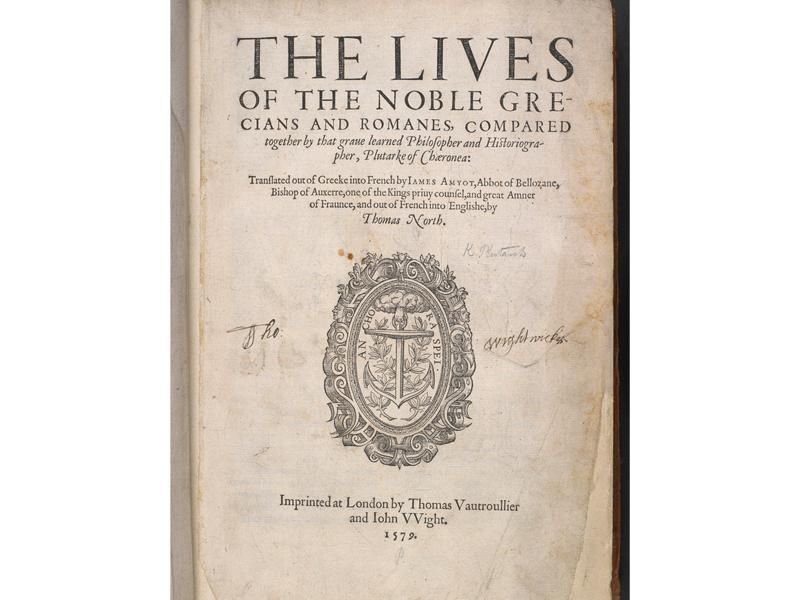 """Title page of North's translation of Plutarch's """"Lives"""""""