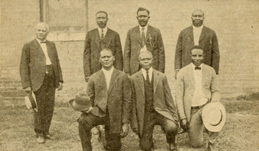 Elaine Defendants: S. A. Jones, Ed Hicks, Frank Hicks, Frank Moore, J. C. Knox, Ed Coleman and Paul Hall with Scipio Jones, State Penitentiary, Little Rock, Pulaski County, Ark. ca. 1925,