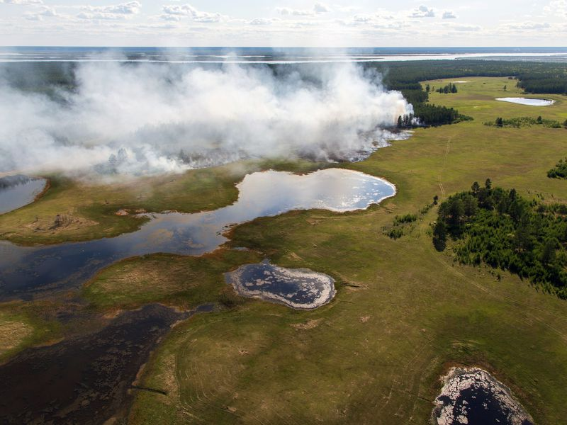 Aerial view of forest fire in central Yakutia, Russia