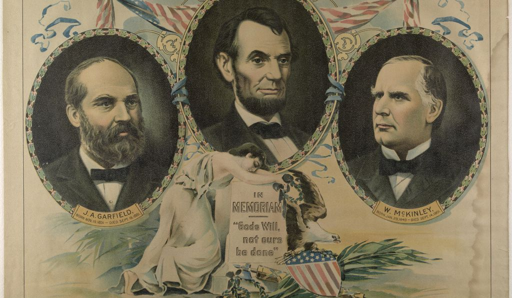 A 1901 card showing the three assassinated presidents. The tombstone below their images reads