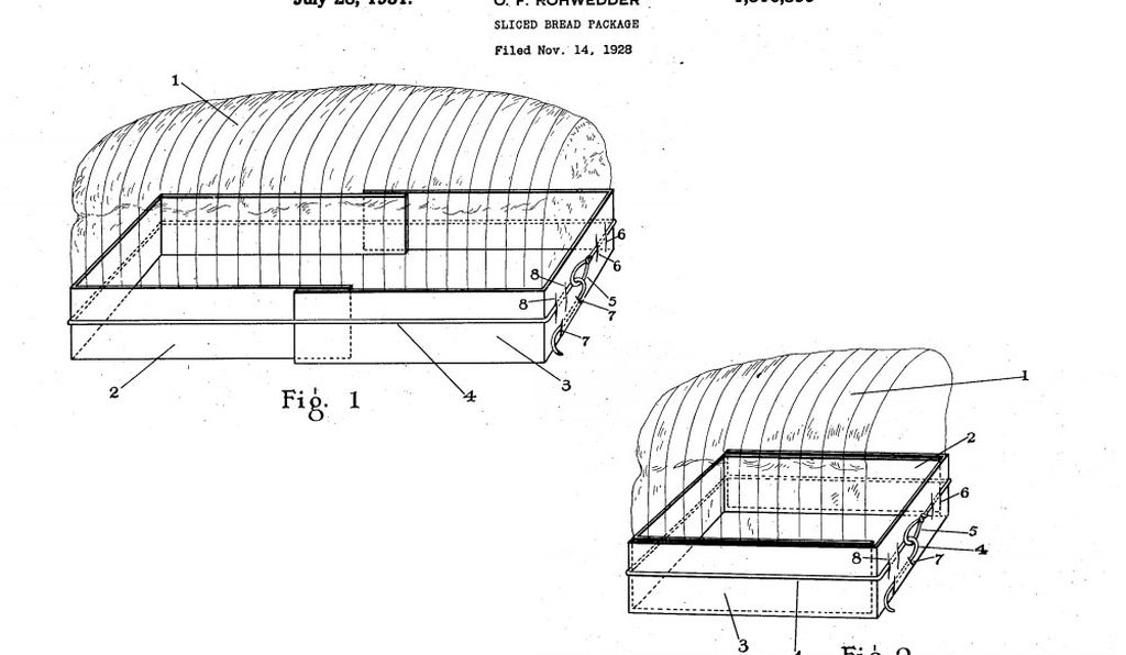 Among the other bread-related products Otto F. Rohwedder invented to support the bread-slicing machine was a bread holder that shrank as the loaf did. It responded to concerns that pre-sliced bread would inevitably go stale before the consumer wanted to eat it.