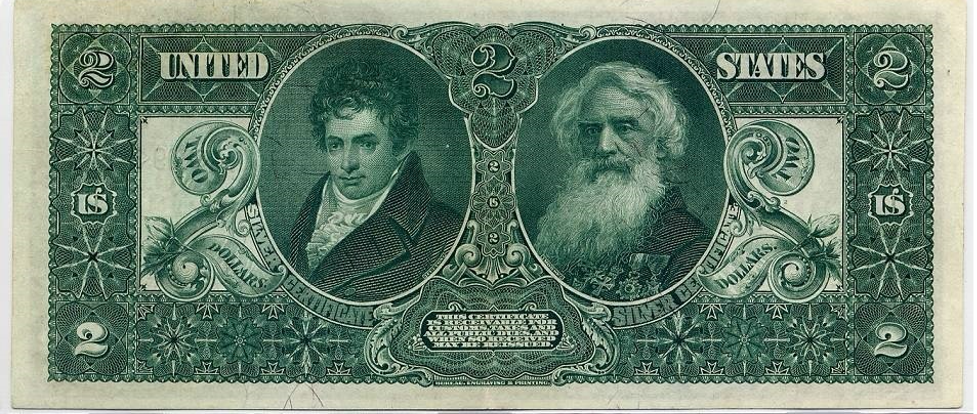 Reverse of 1896 $2 silver certificate. Design by Thomas Morris, engraved by Geroge Smillie and Charles Schlecht, portraits of Robert Fulton and Samuel Morse by Lorenzo Hatch, green ink on paper