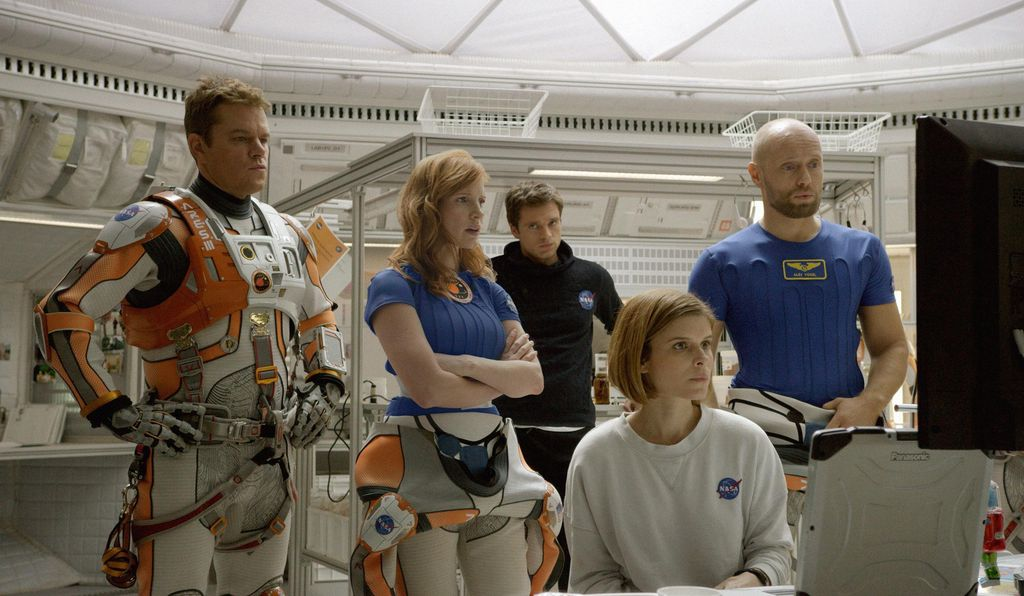 The crew of Ares III: Matt Damon, Jessica Chastain, Sebastian Stan, Kate Mara, and Aksel Hennie.