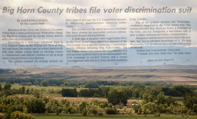 image of Crow reservation with headline Big Horn County tribes file voter discrimination suit superimposed