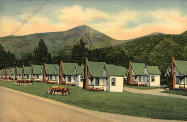 A postcard depicts The English Village East in New Hampshire