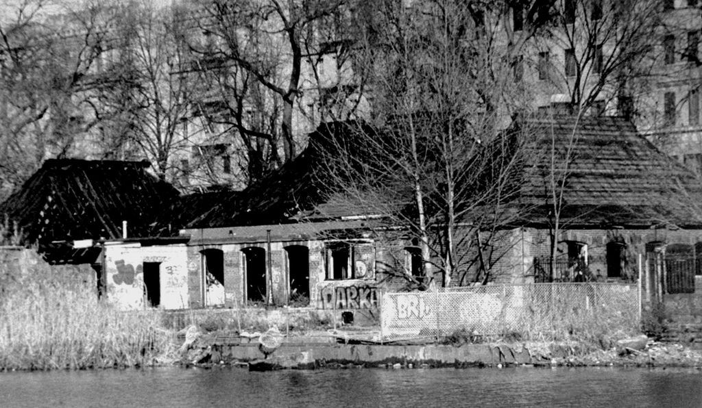 An abandoned boathouse in Central Park in 1986.