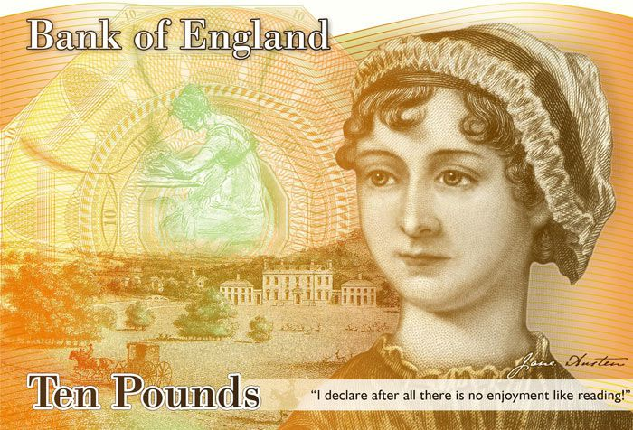 Jane Austen on the British £10 note.
