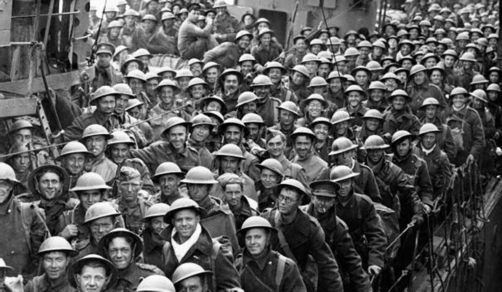 British troops on a destroyer at Dover, having successfully crossed the Channel.