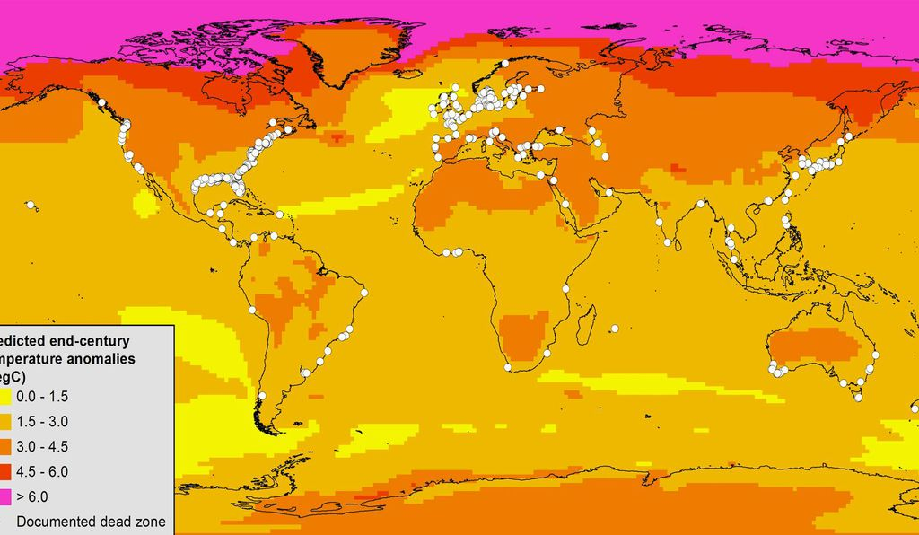 This Map Of Known Dead Zones White Dots Shows How Much Annual Air Temperatures