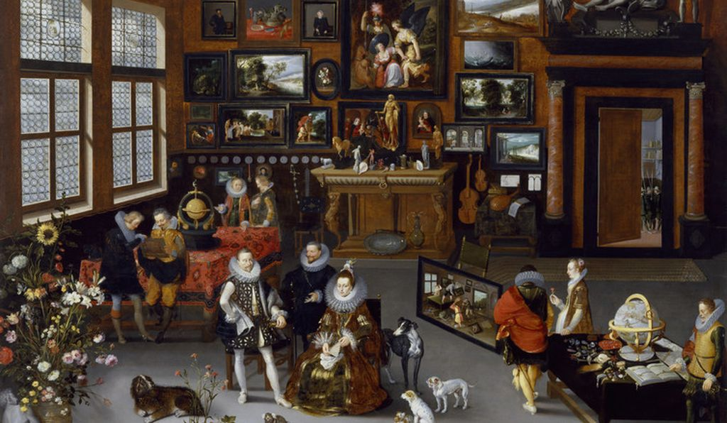 A version of Drebbel's automaton sits on the table by the window in this scene of a collection.