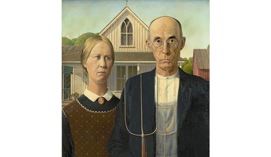 Grant Wood, American, 1891-1942, <em>American Gothic</em>, 1930, Oil on Beaver Board, 78 x 65.3 cm (30 3/4 x 25 3/4 in.), Friends of American Art Collection, 1930.934, The Art Institute of Chicago /© Figge Art Museum
