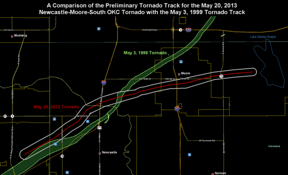 The track of the May 1999 tornado and the preliminary path for today's tornado.