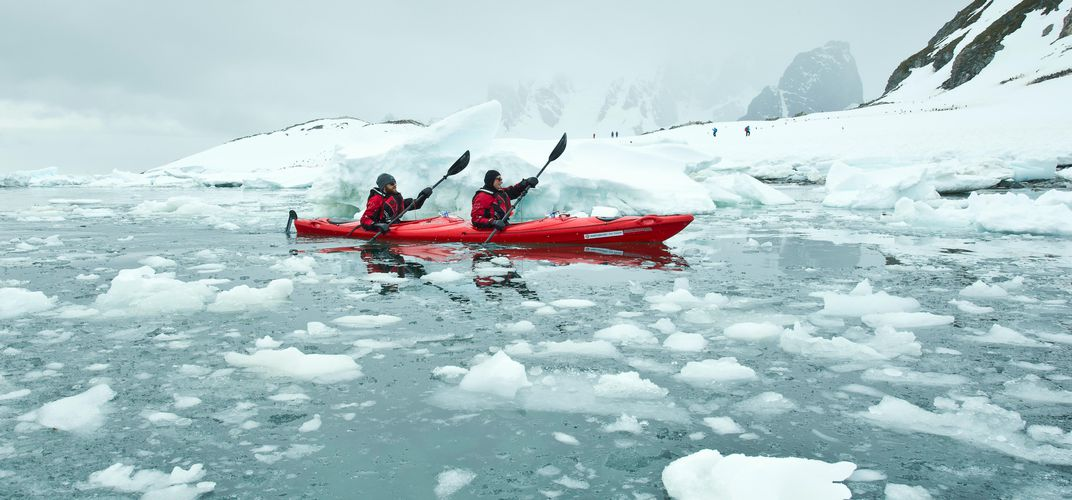 Sea kayaking amid the ice floes