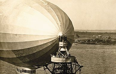 Where do you park a zeppelin (here, the Navy airship <i>Los Angeles</i>)? On a seven-story-high mooring mast.