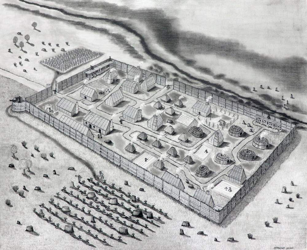 A black and white drawing of a rectangular fence surrounding a fort, with many buildings and roads inside and farms outside, next to the water