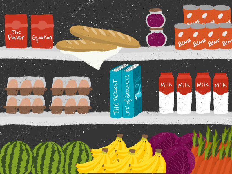 illustration of shelves with bread, cartons that say The Flavor Equation, vegetables and fruits, cans of beans, eggs, and two books titled The Secret Life of Groceries