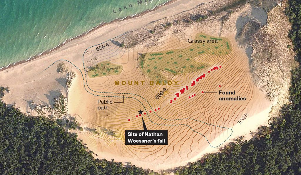 Within a month, scientists began surveying a swath of dune near where the Illinois boy had vanished. Ground-penetrating radar found 66 points on the dune's surface that might have something other than solid sand below.