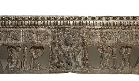 Frontal from the Base of a Funerary Couch with Sogdian Musicians and Dancers and Buddhist Divinities, Northern Qi dynasty, Period of Division, Northern Qi dynasty, 550-577