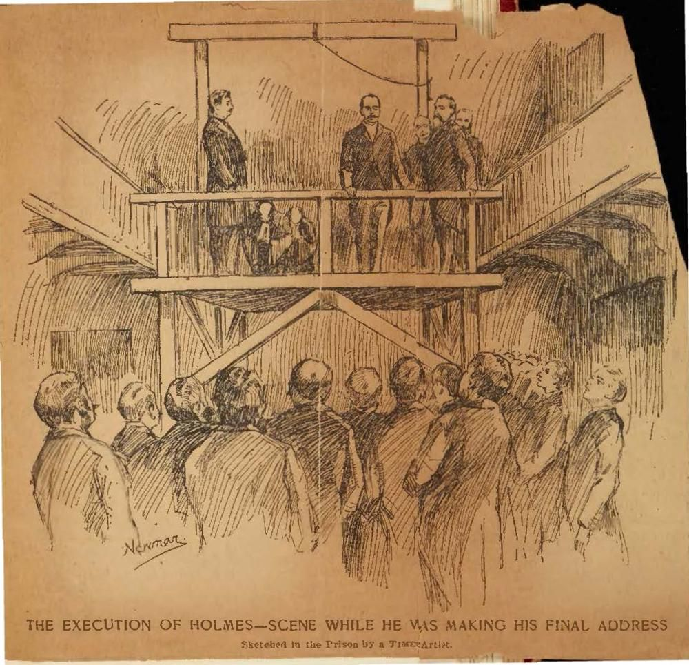 Illustration of H.H. Holmes' execution