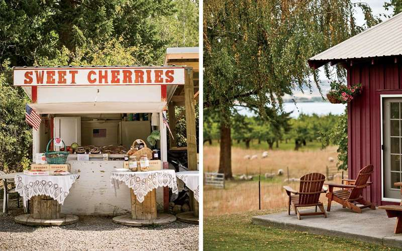 From left: A roadside stand near the town of Polson; Barry and Anita Hansen's guesthouse in Finley Point, where the writer stayed through Airbnb.