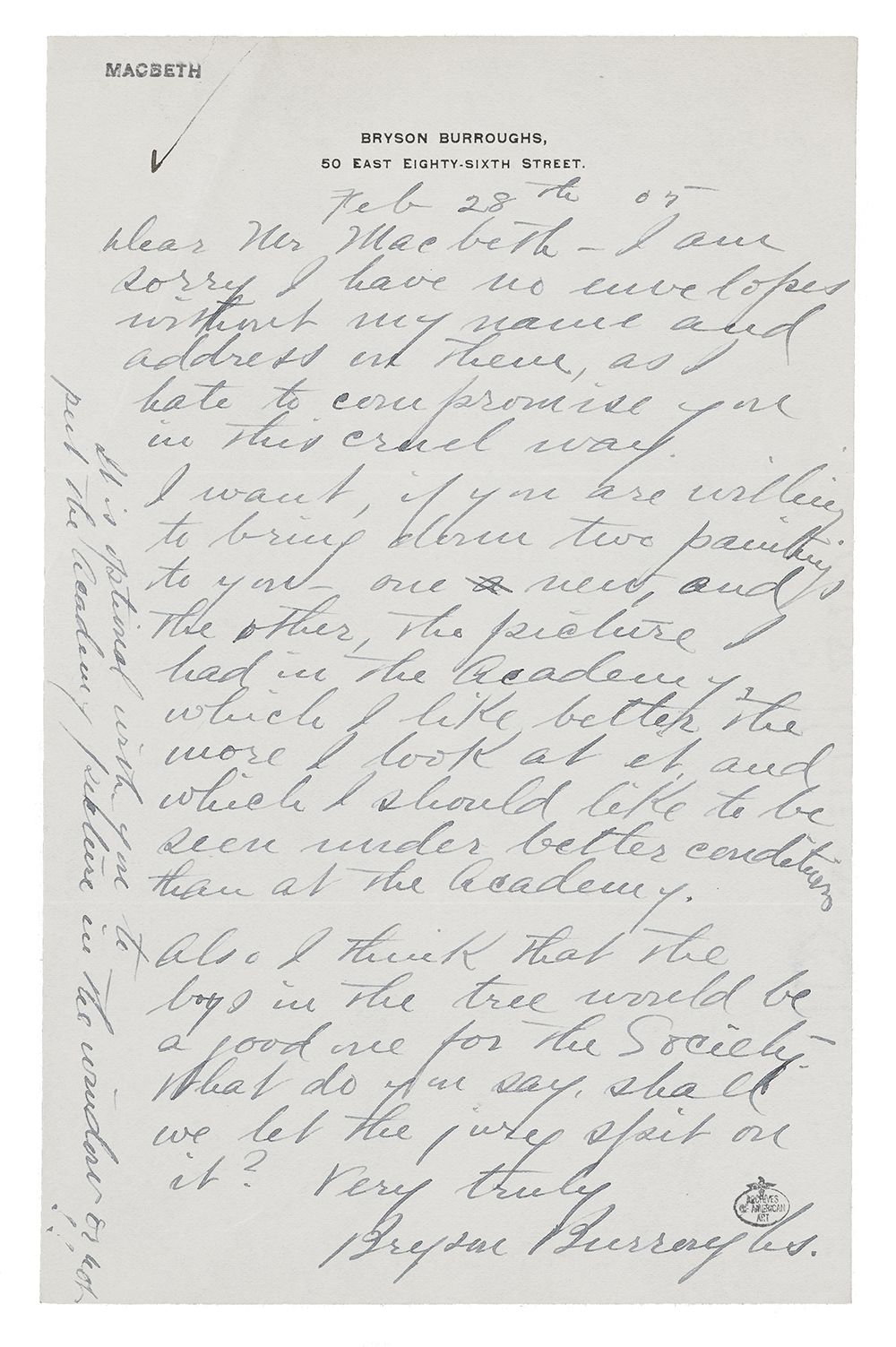 Letter to William Macbeth from Bryson Burroughs