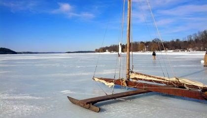It Was Cold Enough This Winter to Go Ice Yachting on the Hudson River