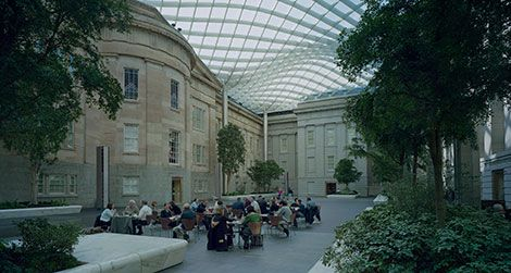 Kogod Courtyard is a 28,000-square-foot space with seating, free Wi-Fi and a Courtyard Café.