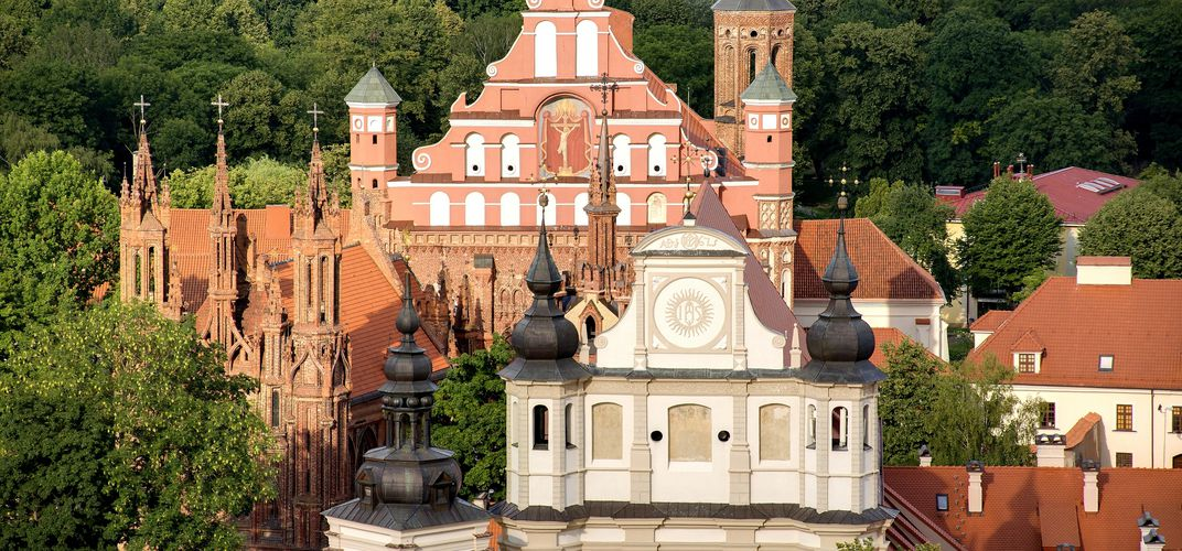 The architecture of the Old Town of Vilnius, Lithuania