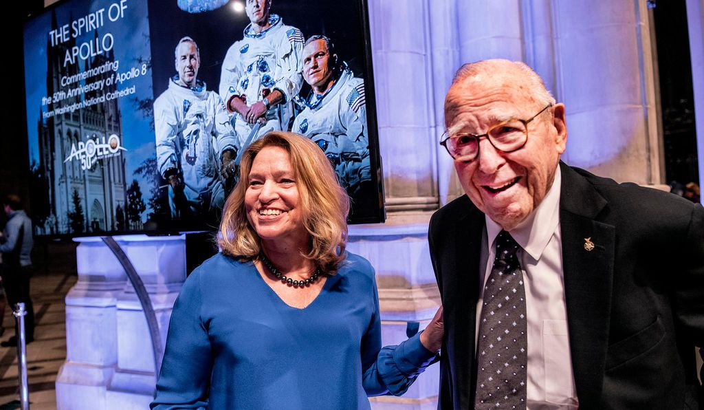 """If the moon is within our grasp, nothing is beyond our reach,"" says the museum's director Ellen R. Stofan, (above with Apollo 8 command module pilot Jim Lovell)."