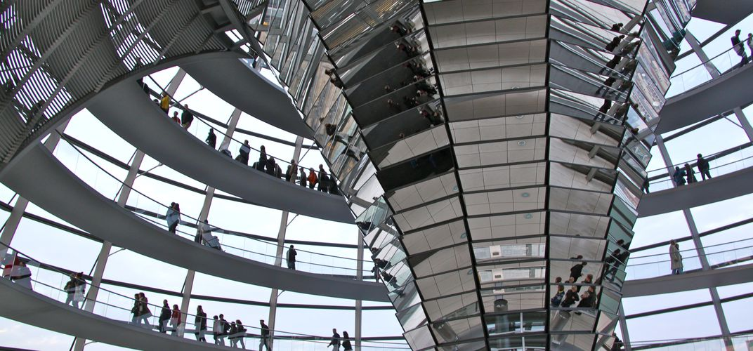 The striking contemporary glass dome of Berlin's Reichstag