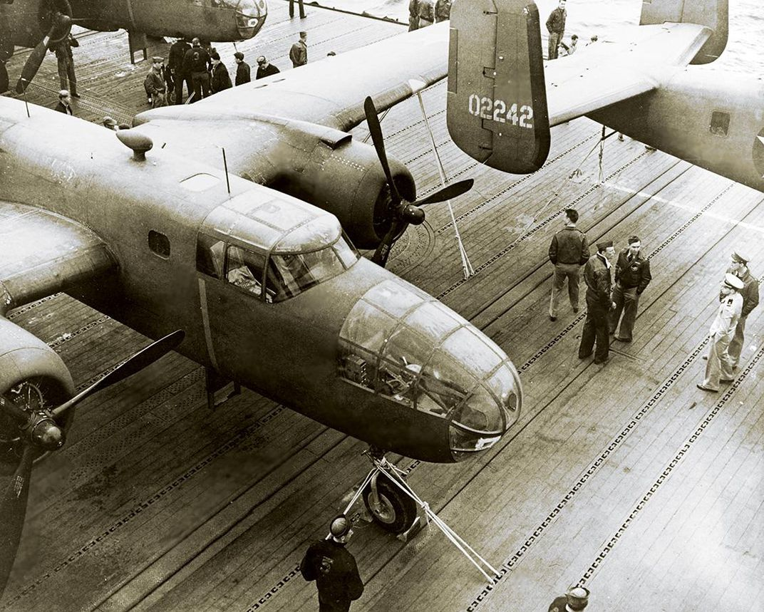 B-25B bombers on a flight deck