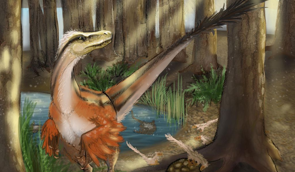 Reconstruction of Dineobellator notohesperus standing over a nest by Mary P. Williams