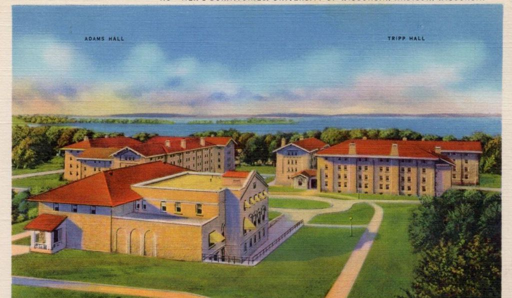 The University of Wisconsin's Adams and Tripp Halls, pictured here on a 1926 postcard, were designed to level class distinctions.