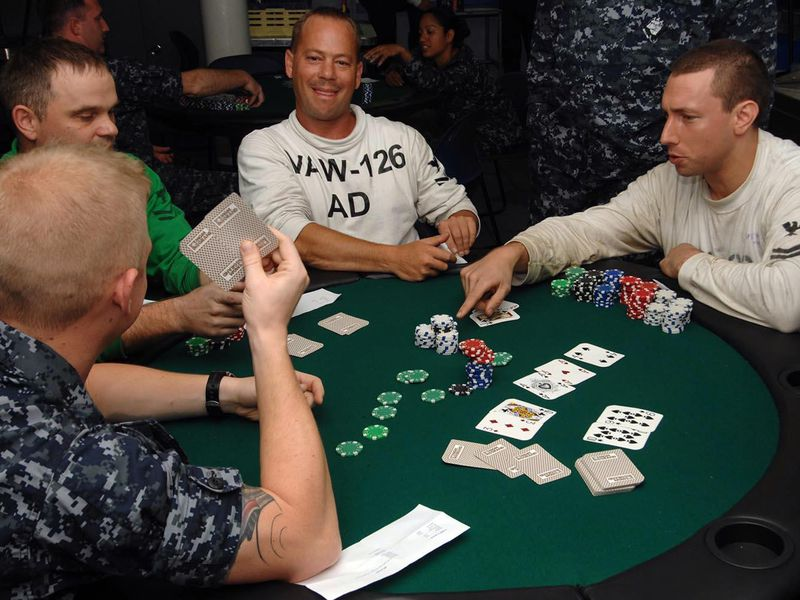 A game of Texas hold 'em in progress.